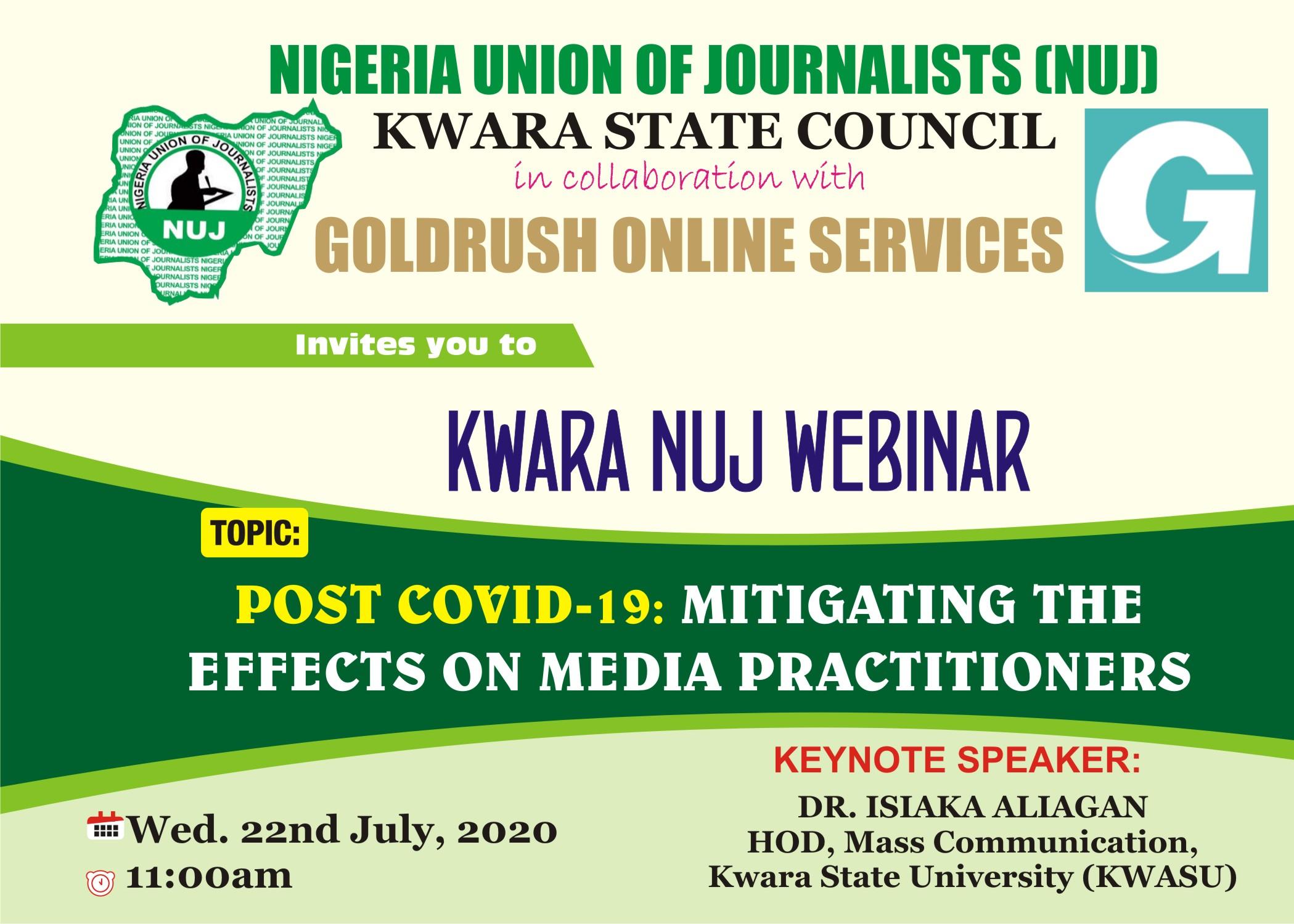 Aliagan delivers Kwara NUJ webinar lecture Wednesday