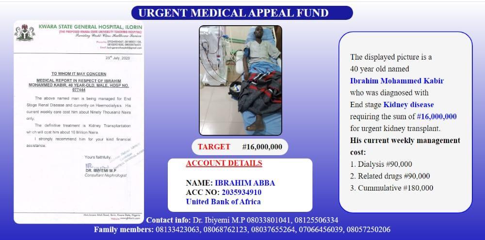 Kidney transplant: Man, 40 needs N16 million to live