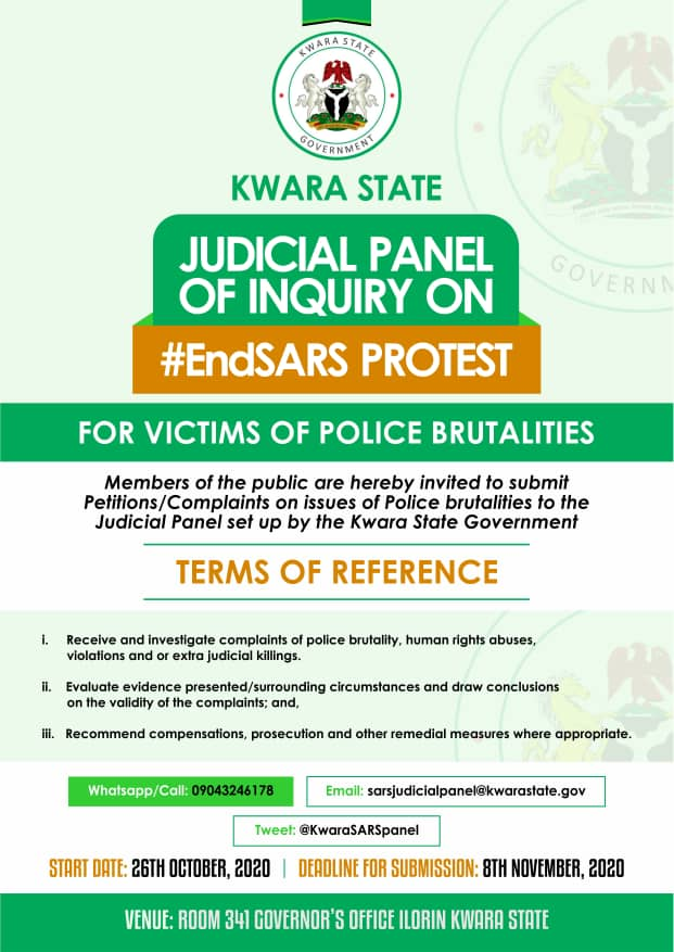 #EndSARS: Kwara Judicial panel of Inquiry calls for petitions against alleged Human rights abuses