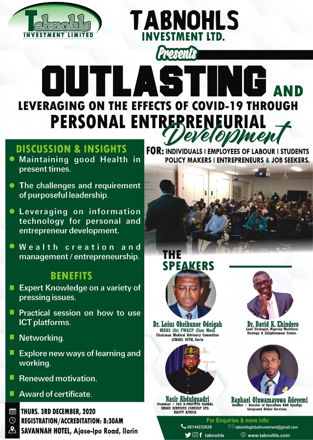 Outlasting and leveraging on the effects of Covid 19 through personal entrepreneurial development!